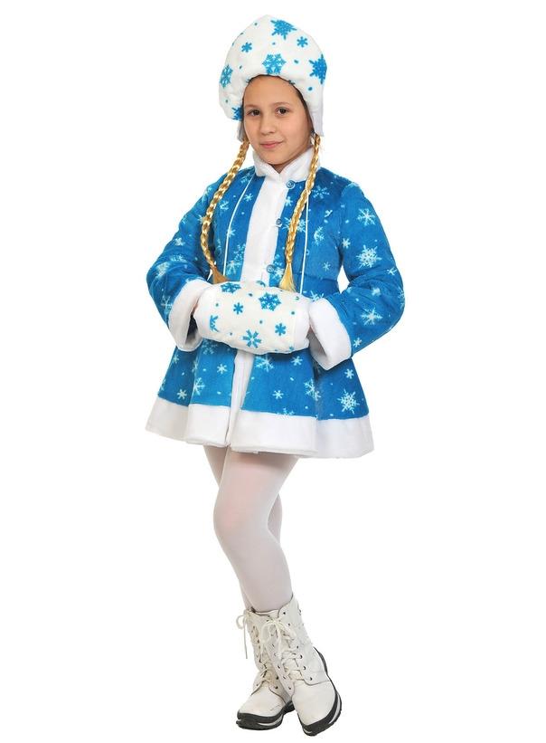 Детский костюм Снегурочки со снежинками (32-34) детский костюм снегурочки ледянки 34