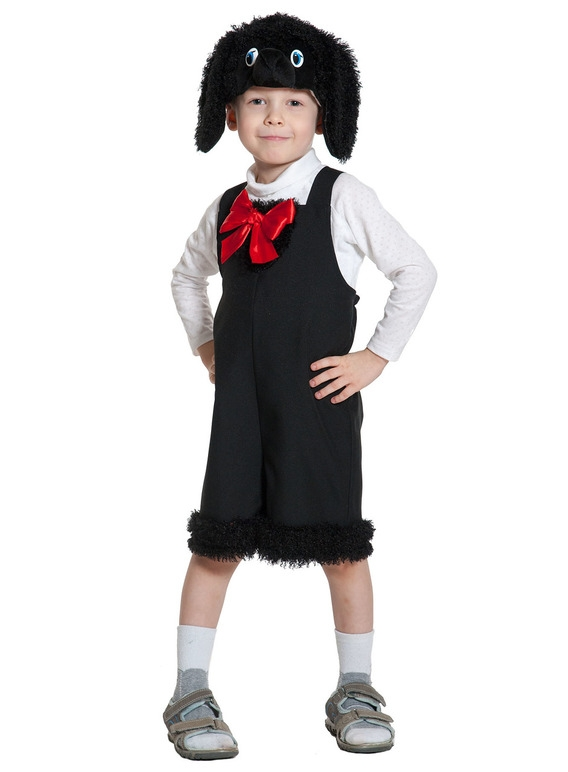 Детский костюм Черного Пуделя с бантом (26) - Животные и зверушки, р.26