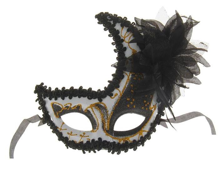 Маска черно-белая с цветком (UNI) - Карнавальные маски