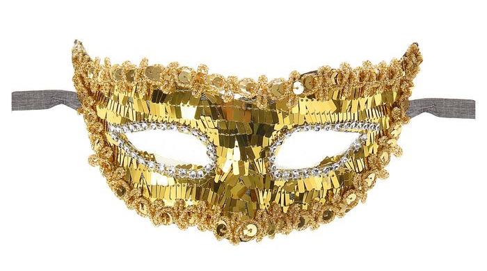 Золотая блестящая маска (UNI) - Карнавальные маски