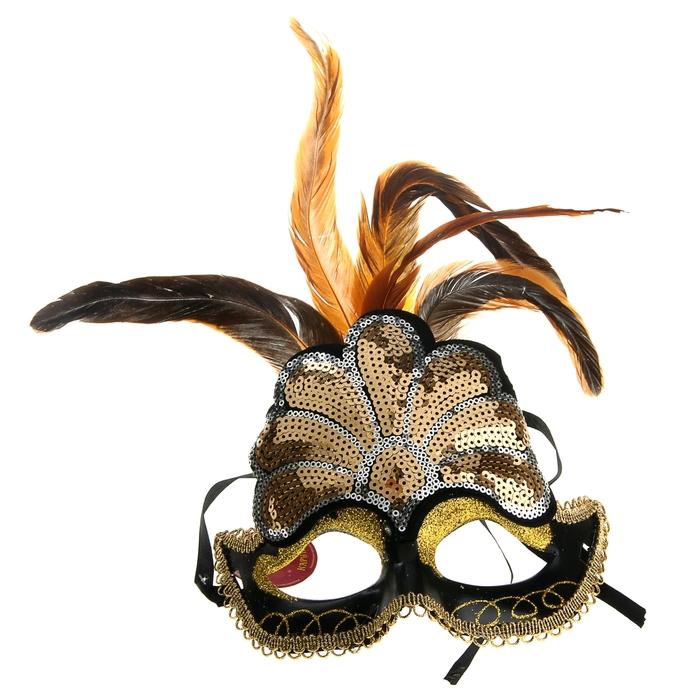 Маска с пайетками и перьями (UNI) - Карнавальные маски