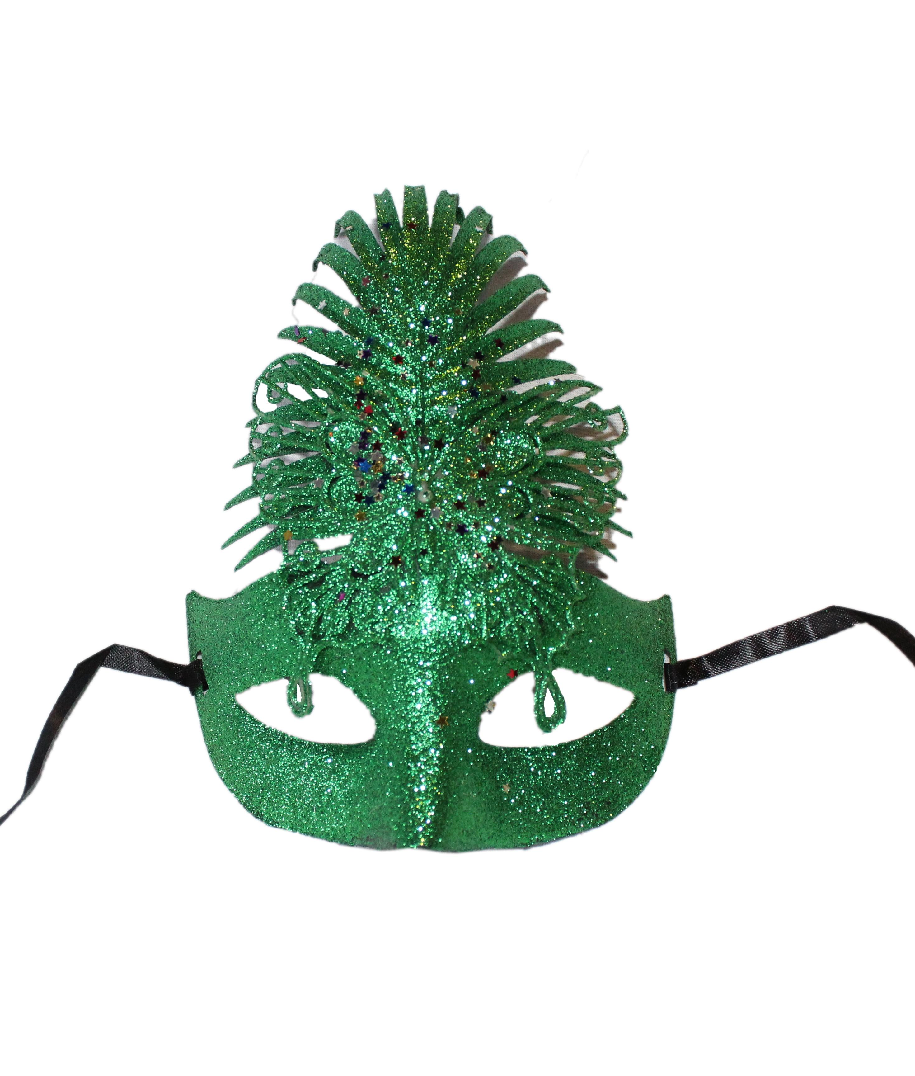 Зеленая блестящая маска (UNI) - Карнавальные маски