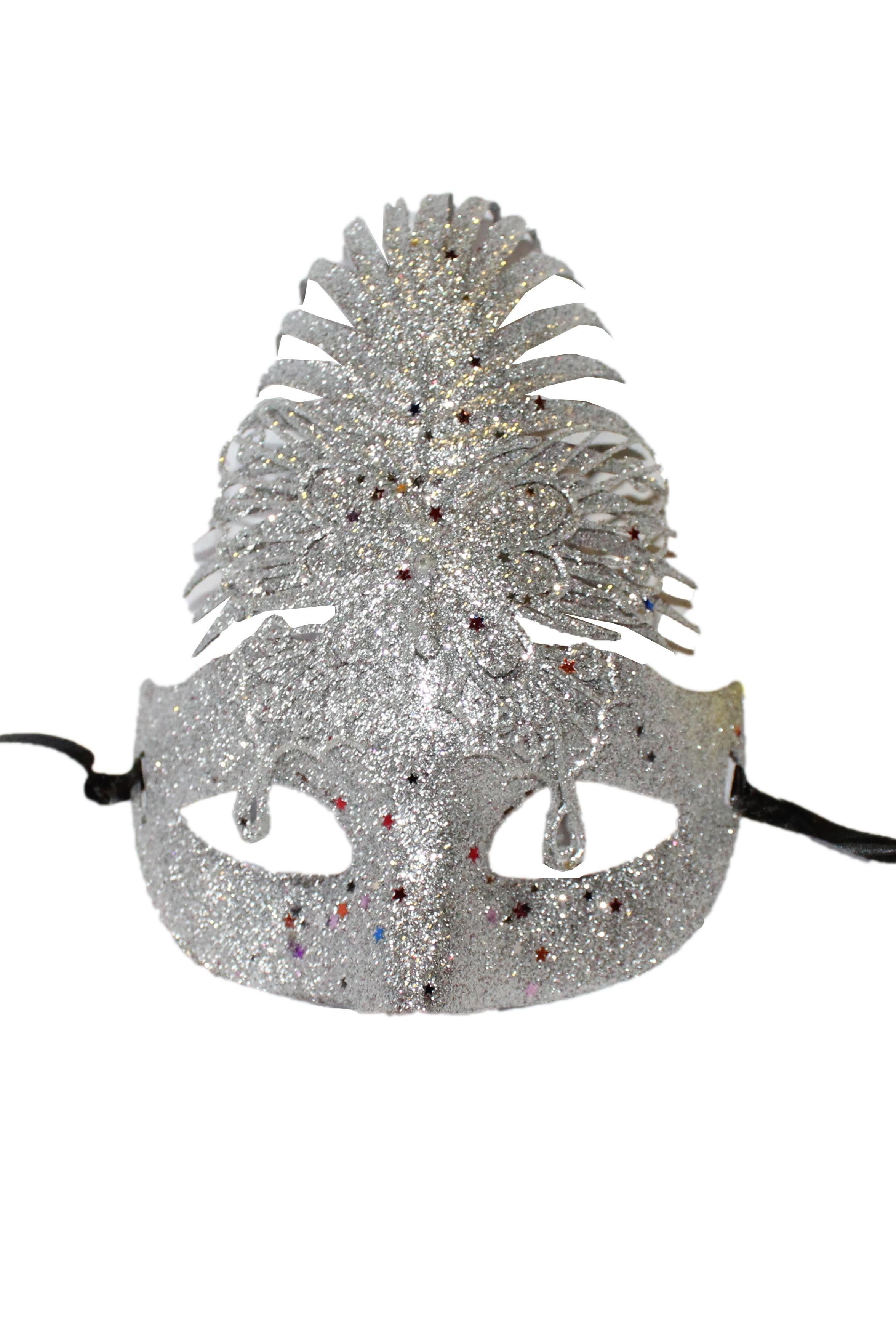 Серебряная блестящая маска (UNI) - Карнавальные маски