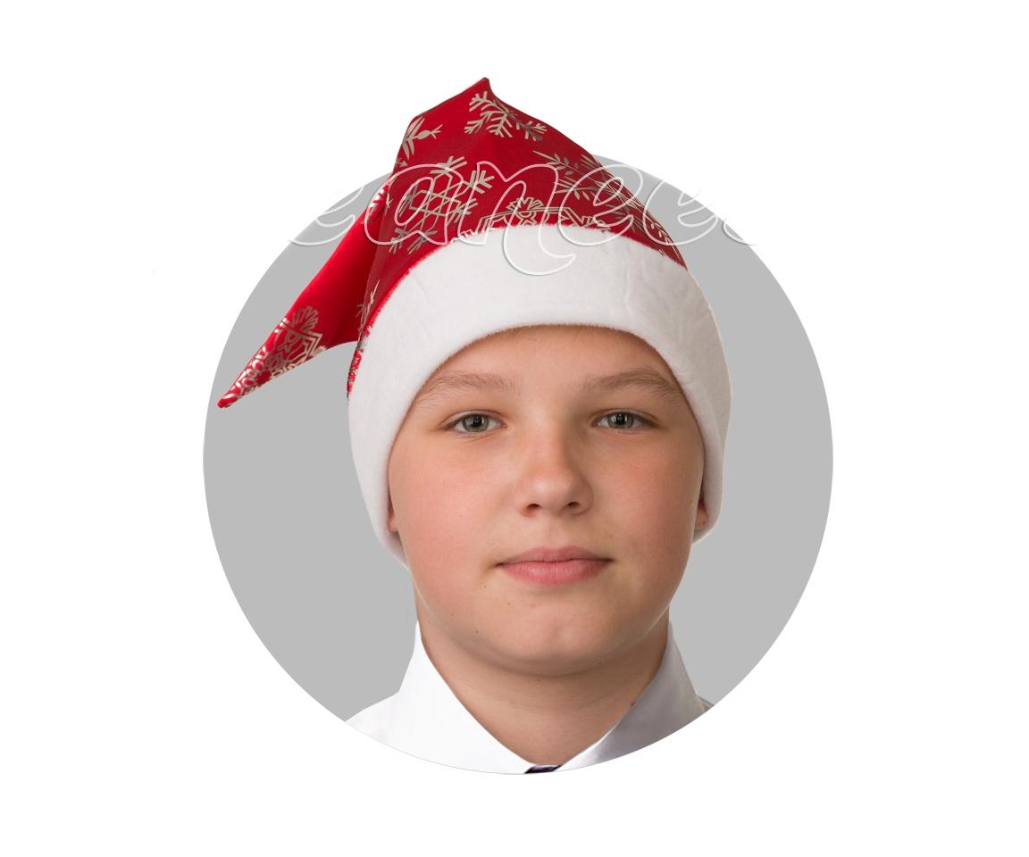 Сатиновый красный колпак со снежинками (UNI) - Аксессуары на Новый год