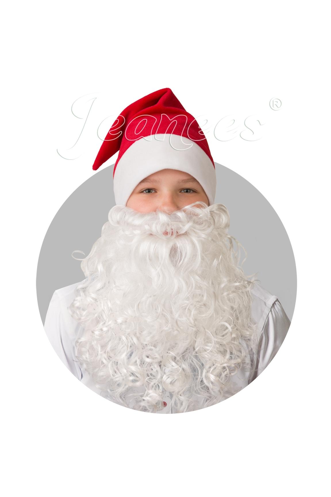 Плюшевый красный колпак с бородой (UNI) - Аксессуары на Новый год