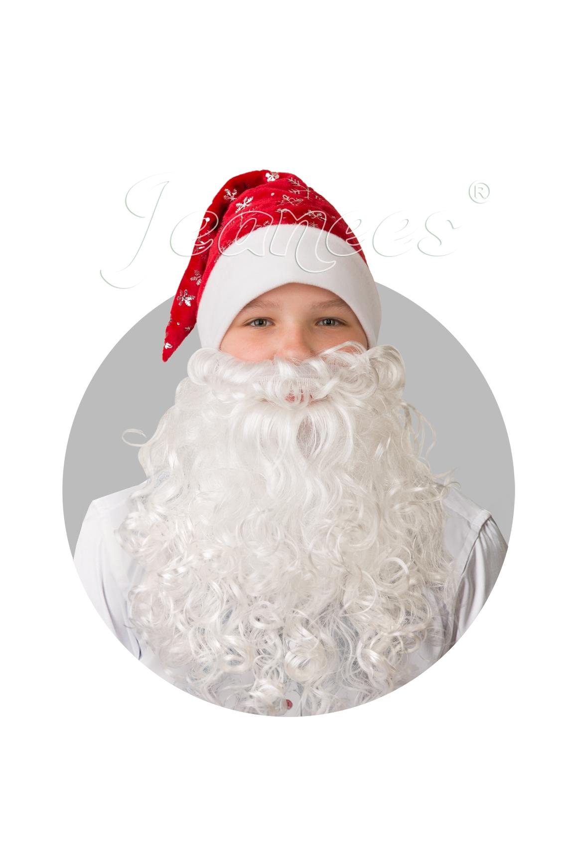Колпак красный плюшевый с бородой (UNI) - Аксессуары на Новый год