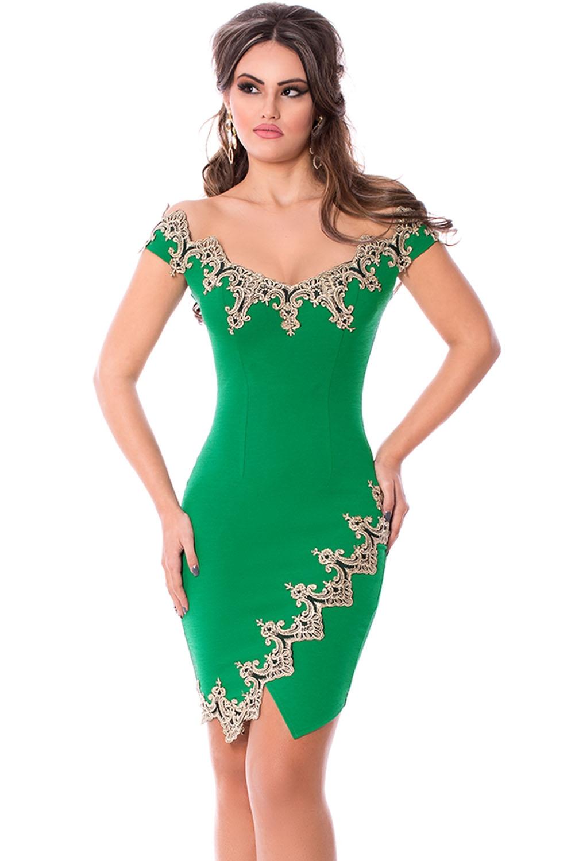 Зеленое платье с золотыми узорами (40-42) цены