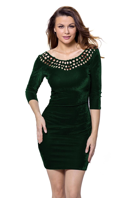 Зеленое бархатное платье (40-42)