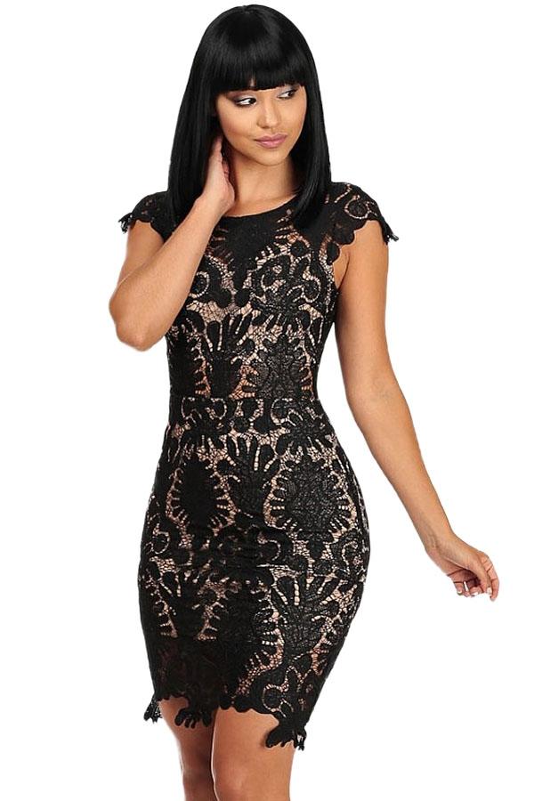 Кружевное черное платье (40-42) -  Платья для клуба