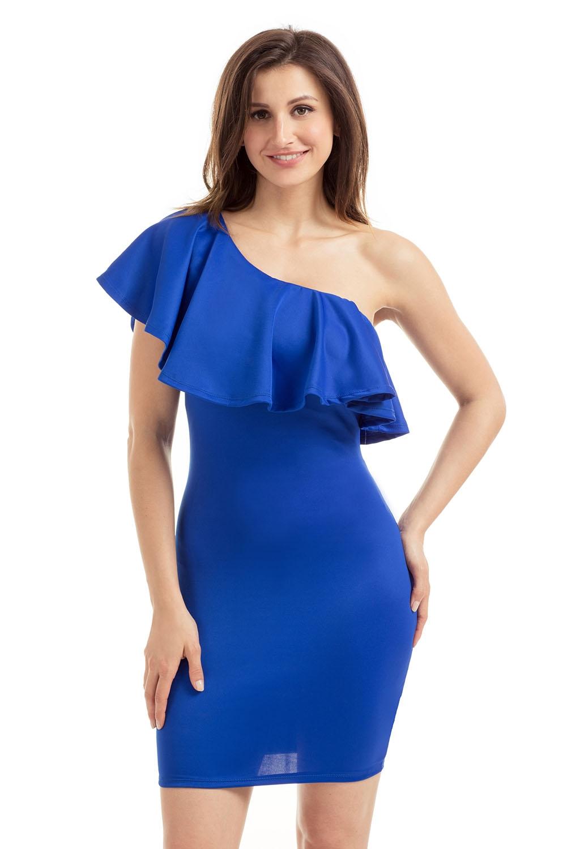 Синее ассиметричное платье (40-42)