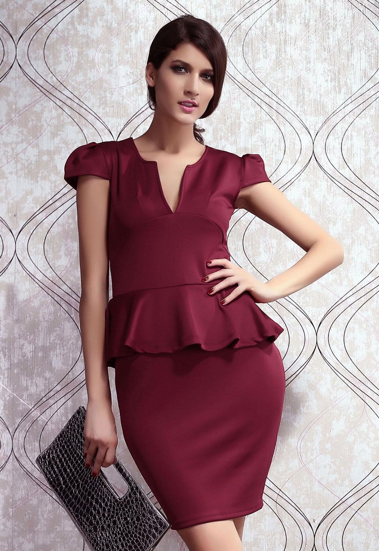 Бордовое платье с баской (44) -  Платья для клуба