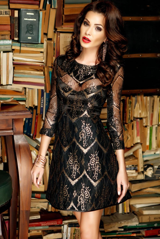 Черное платье с золотыми узорами (46) -  Платья для клуба