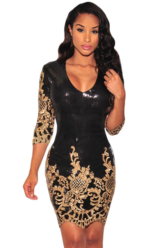 Черное блестящее платье с золотом (40-42) -  Платья для клуба