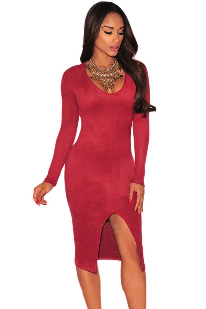купить Красное платье с вырезом на юбке (42-44) недорого