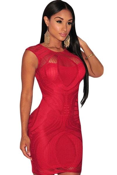 купить Красное ажурное платье (42-44) недорого