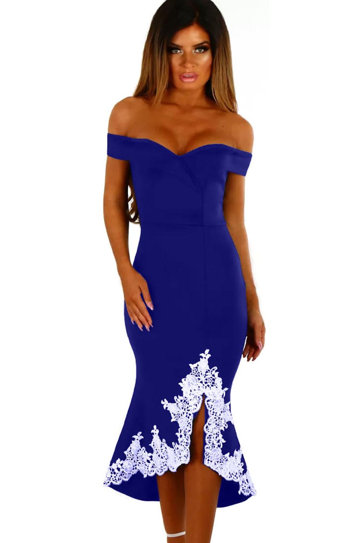 Синее платье с белым кружевом (40-42) -  Платья для клуба