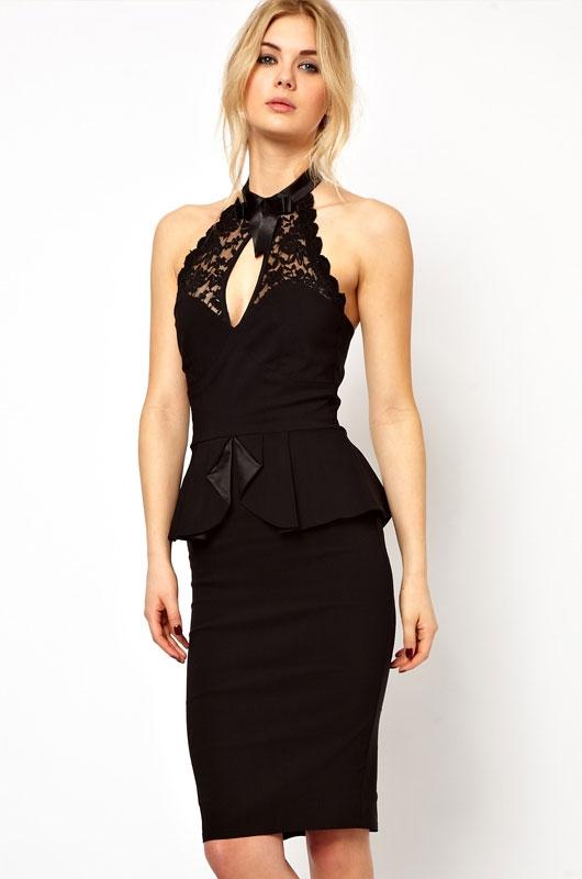 Черное платье с кружевным топом (44) платье черное с кружевной баской 44