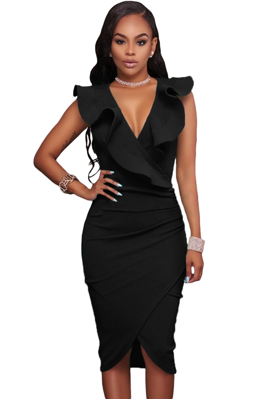 Черное платье с оборками на воротнике (L)