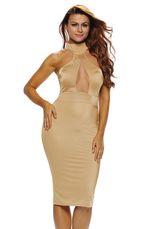 Платье песочного цвета (40-42) -  Платья для клуба