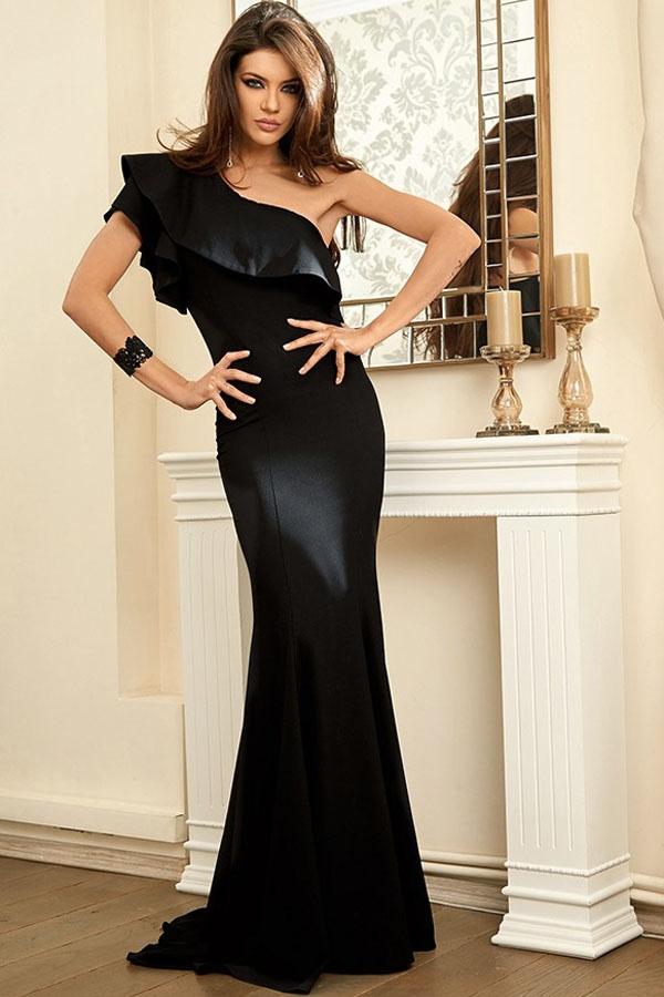 Черное платье на одно плечо (46-48) элегантное черное платье где