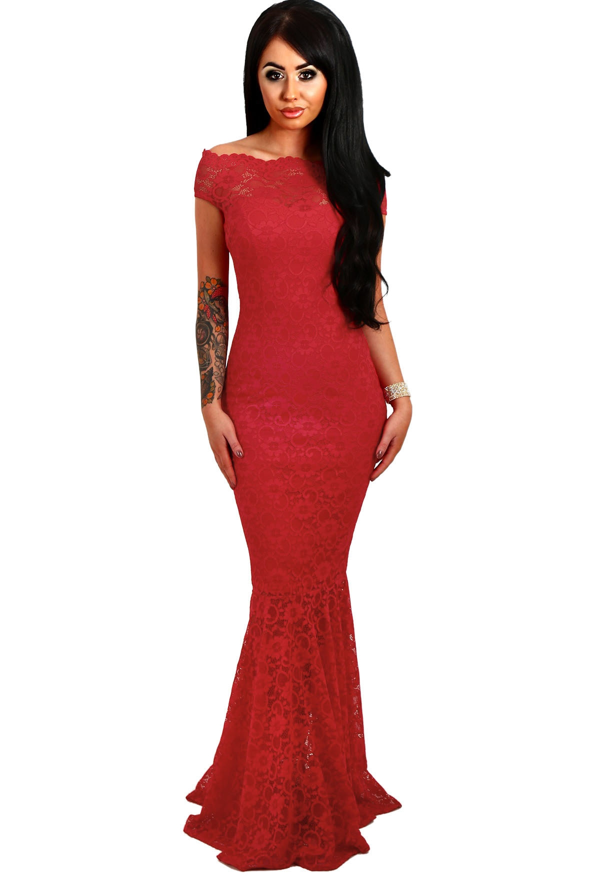 Красное кружевное платье в пол (40-42) -  Платья для клуба