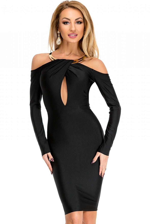 Черное платье с золотым воротником (46-48) черное платье карандаш 46