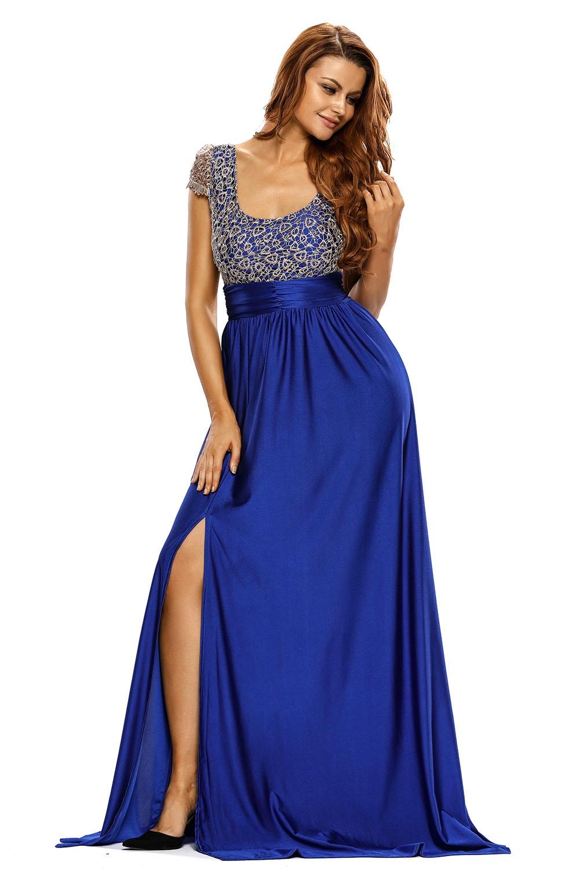 Синее длинное платье с кружевным топом (46) -  Платья для клуба