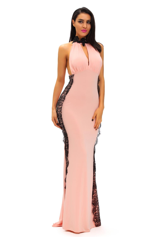 Розовое платье с черным кружевом (44-46)