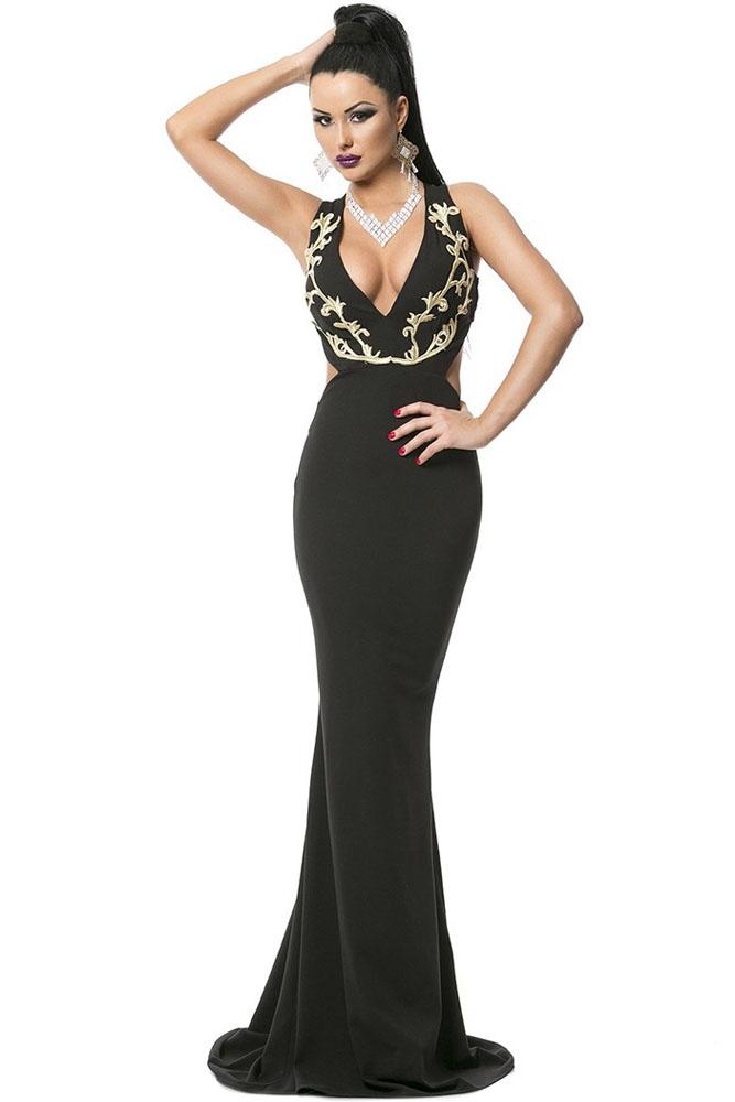 Черное вечернее платье с золотом (44-46) черное платье карандаш 46
