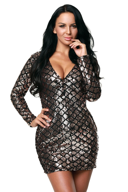 Серебристое платье с длинными рукавами (40-42) -  Платья для клуба