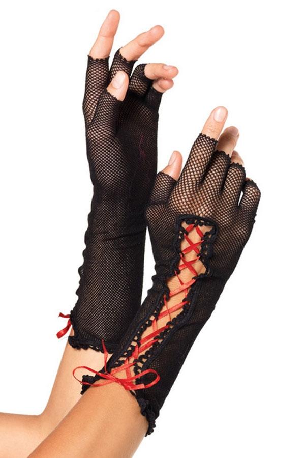 Черные перчатки со шнуровкой (UNI) - Перчатки и рукава