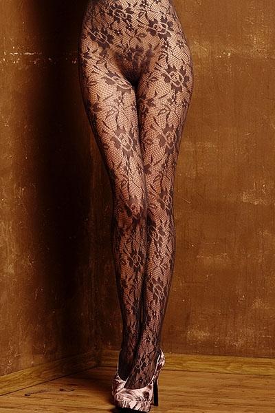 Чёрные колготки с цветочным узором (42-44) пижама жен mia cara майка шорты botanical aw15 ubl lst 264 р 42 44 1119503