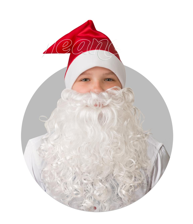 Красный сатиновый колпак с бородой (UNI) - Аксессуары на Новый год