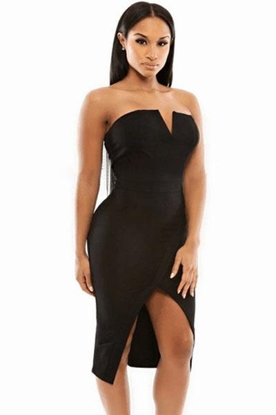 Черное платье с открытыми плечами (46) -  Платья для клуба