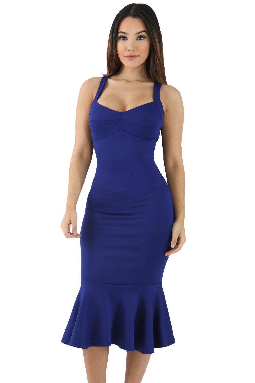 Синее приталенное платье (40-42)