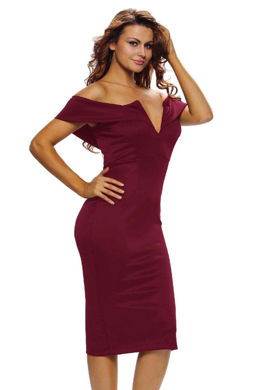 Бордовое платье с вырезом галочкой (40-42) -  Платья для клуба