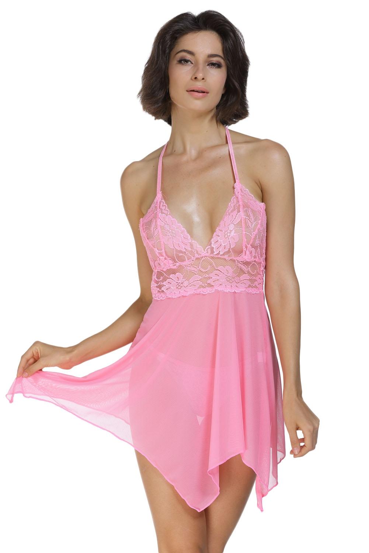 Розовая сорочка с кружевом (40-42) -  Сорочки и туники