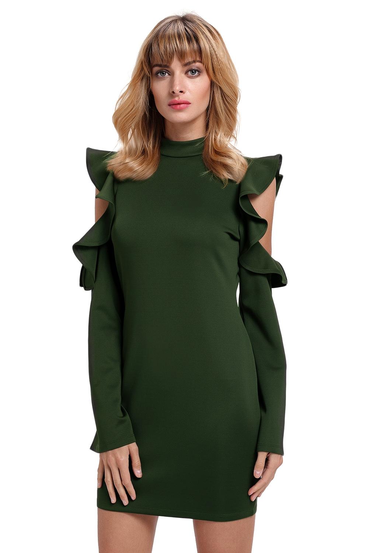 Платье с вырезами на плечах Хаки (40-42) -  Платья для клуба