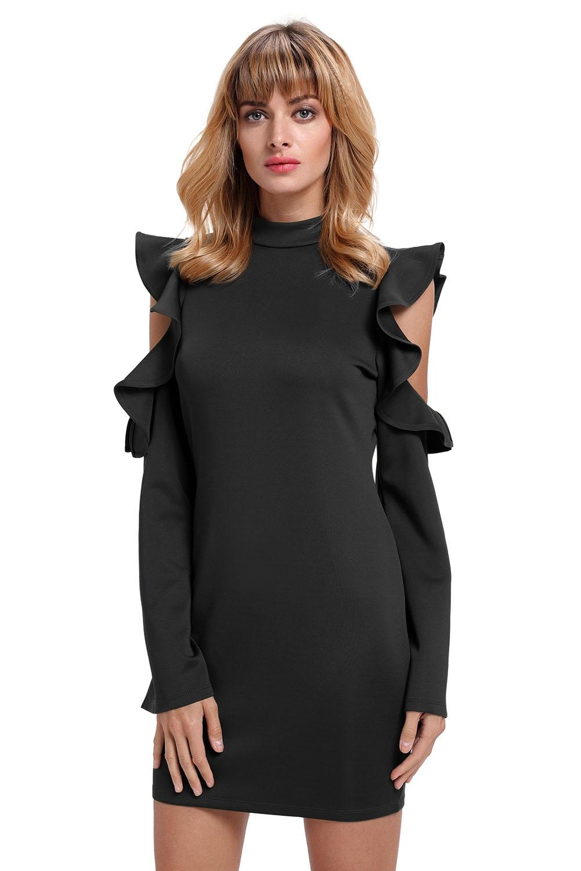 Черное платье с вырезами на плечах (40-42) -  Платья для клуба