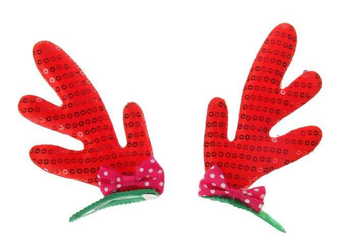 Две заколки с рожками оленя (UNI) - Аксессуары на Новый год