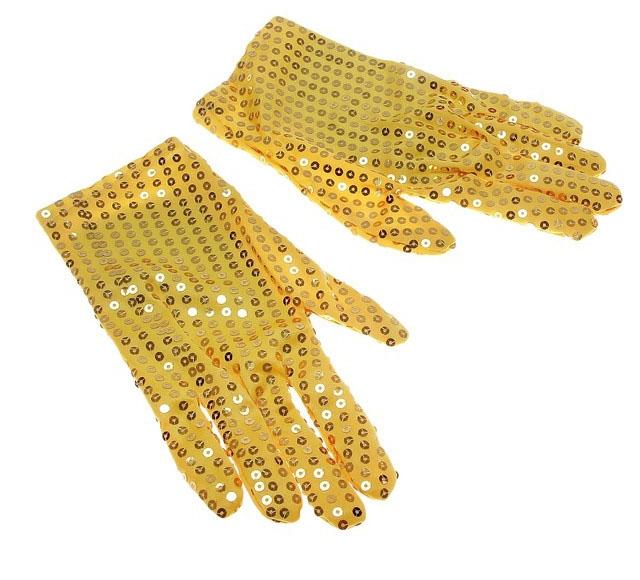 Желтые блестящие перчатки (UNI) - Перчатки и рукава