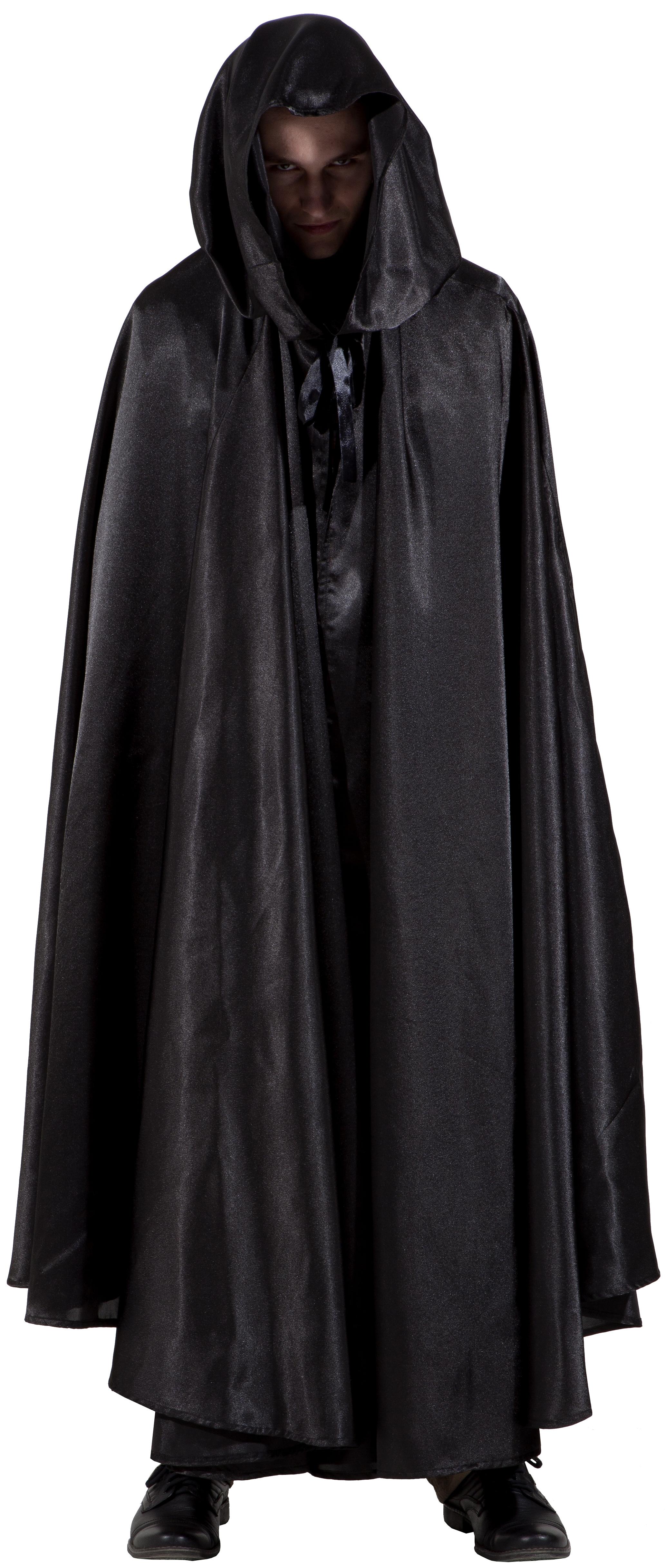 Взрослый черный плащ (44-50) -  Аксессуары на Хэллоуин